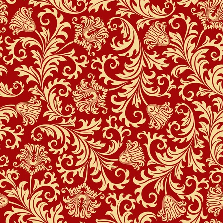 rococo style: Seamless floral background. Vector illustration.