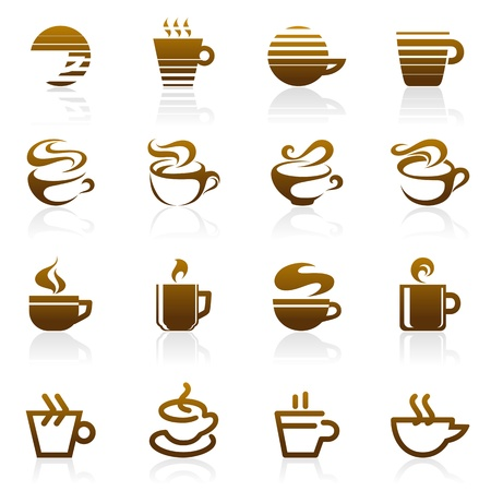Coffee. Vector logo template set. Elements for design. Icon set.