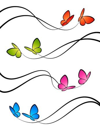 membrete: Mariposas. Elementos de diseño. Ilustración vectorial. Vectores