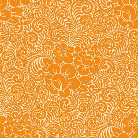 오렌지: 원활한 꽃 배경입니다. 벡터 일러스트 레이 션. 일러스트