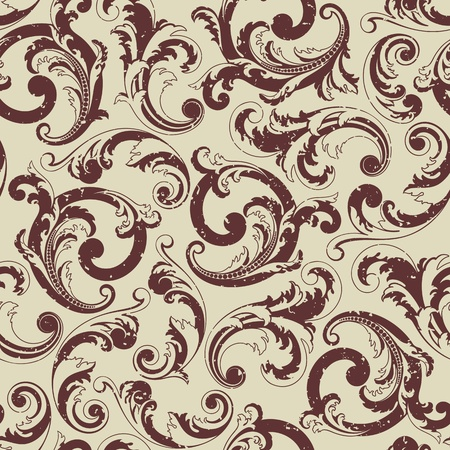 rococo style: Seamless baroque pattern. Grunge on a separate layer Illustration