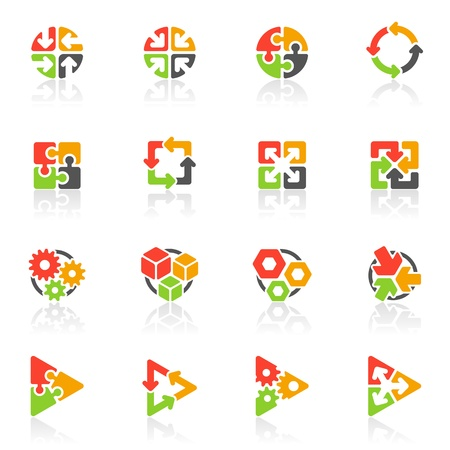 round logo: Abstract geometrical icons Illustration