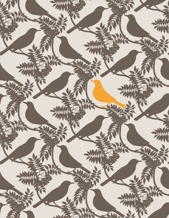 thrush: Birds. Seamless vector background.