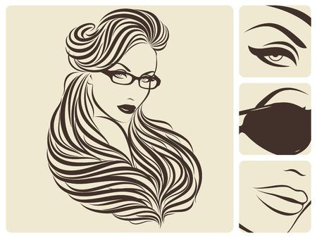 Niña con tiempo ondulado peinado. Ilustración vectorial hermoso.