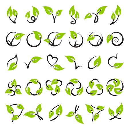 logo recyclage: Feuilles. Mod�le de logo Vector ensemble. El�ments pour la conception. Icon set.