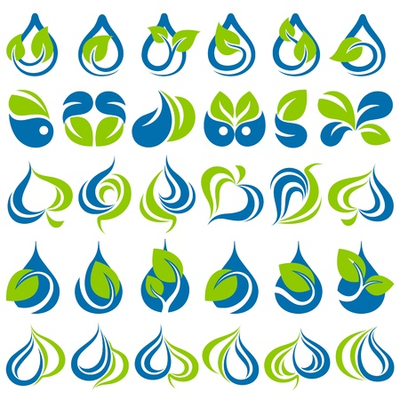 organic concept: Drops and leaves. Vector logo template set. Elements for design. Icon set.