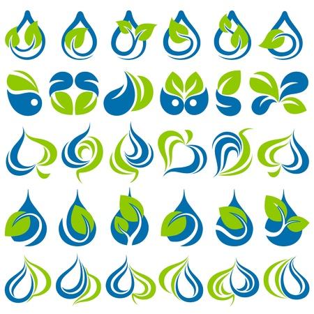 logo recyclage: Gouttes et feuilles. Mod�le de logo Vector ensemble. El�ments pour la conception. Icon set.