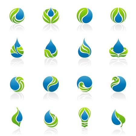 elements for logo: Drops and leaves. Vector logo template set. Elements for design. Icon set.