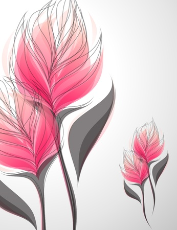 Vriesea. Shiny soft pink flowers. Vector illustration.