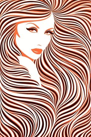 Long haired girl. Vector illustration. Stock Vector - 9407577