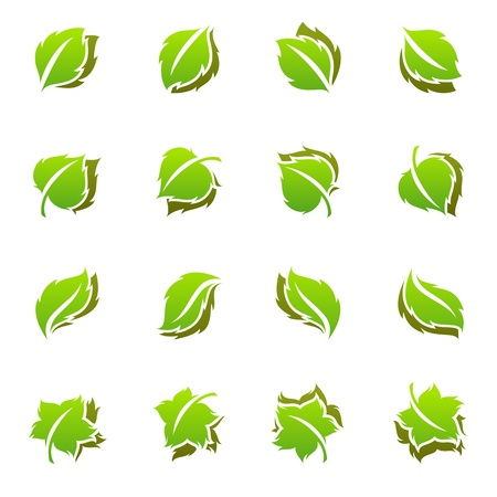Leaves. Vector logo template set. Elements for design. Icon set. Stock Vector - 9407576