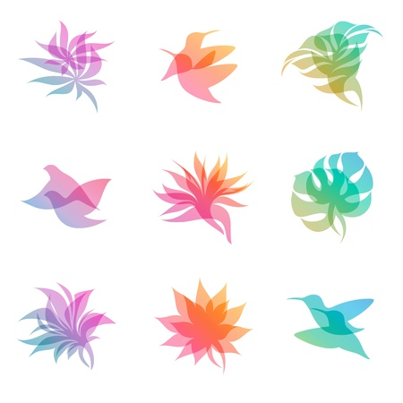 leaf logo: Pastel nature. Vector logo template set. Elements for design. Icon set. Illustration