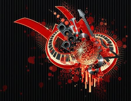 rock logo: Dise�o abstracto de partido. Ilustraci�n vectorial.