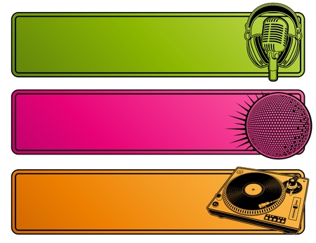 headphones: Abstract party design. Banners. Vector illustration. Illustration