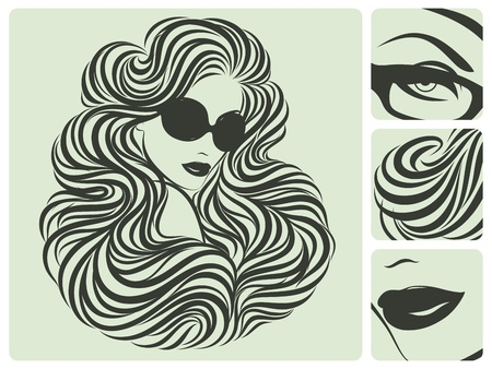 Long curly hairstyle.  Vector