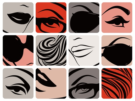 erotic: Set of female face parts. Vector illustration.