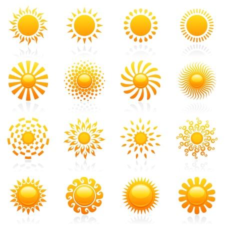 el sol: Domingo elementos de dise�o. Conjunto de plantillas de logotipo de vector. Conjunto de iconos. Vectores