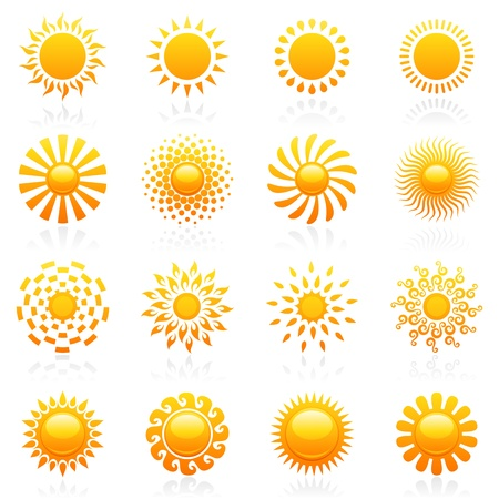 sun: Sun. Elements for design. Vector logo template set. Icon set. Illustration