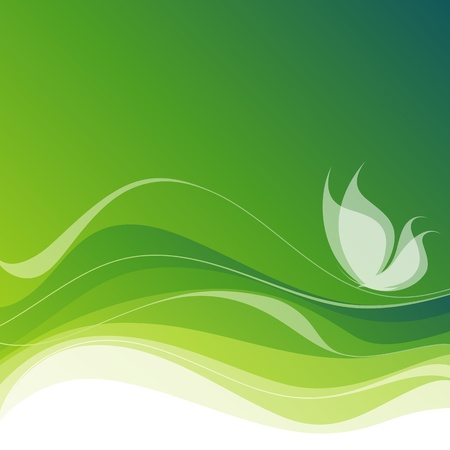 White butterfly on an abstract green background. Vector illustration (eps8). Vector