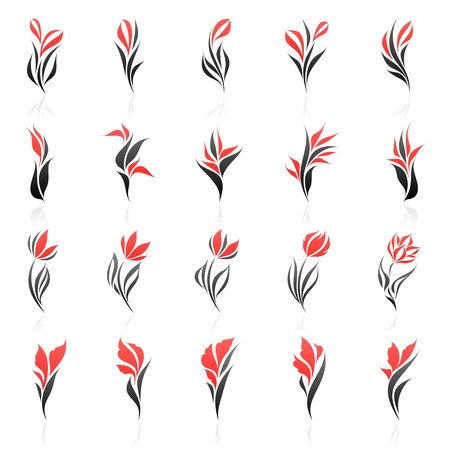 Flowers. Vector logo template set. Elements for design.