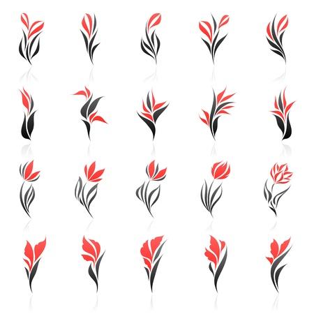 Flowers. Vector logo template set. Elements for design. Stock Vector - 9946109
