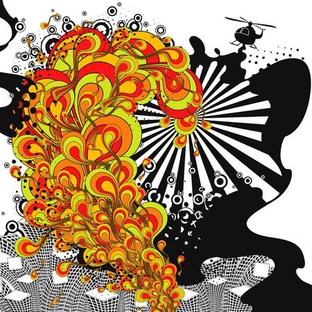grafitis: Sonido urbano. Tema de tiempo parte abstracta. Ilustraci�n vectorial.