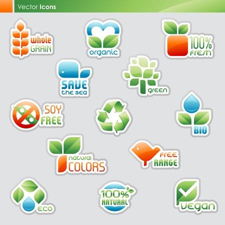 idzie: Kolekcja etykiet diety i zdrowego symboli żywności (ikony i tekst idzie przedstawione osobno).
