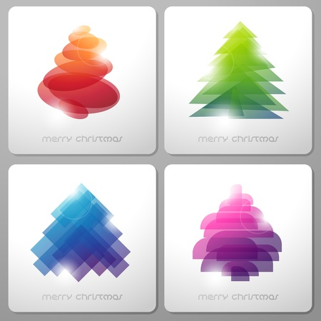Set of abstract shiny christmas trees.