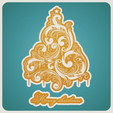 Elegant baroque style Christmas tree. Beautiful vector illustration. Stock Vector - 11105000
