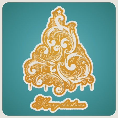 Elegant baroque style Christmas tree. Beautiful vector illustration. Stock Vector - 11105000