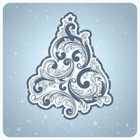 Baroque style Christmas tree. Beautiful vector illustration. Vector