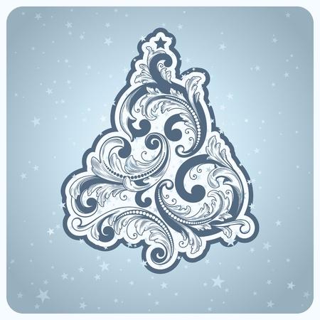 Baroque style Christmas tree. Beautiful vector illustration. Stock Vector - 11141489