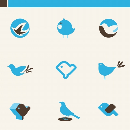 Set of cute birds. Elements for design. Icon set. Illustration