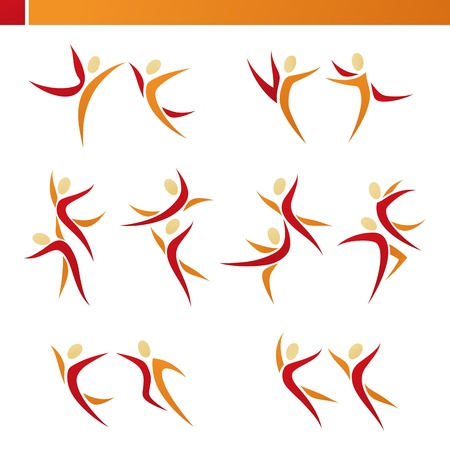 team sports: Abstract human couple in action. Vector logo template set. Elements for design. Icons set.