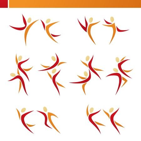 equipe sport: R�sum� couple humain dans l'action. Ensemble Vector mod�le logo. �l�ments pour la conception. Icons set.