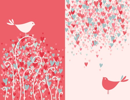 Two pretty love birds.  Vector