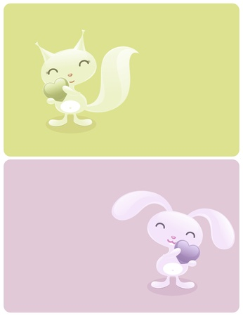 Cute baby animals with hearts: funny bunny and pretty squirrel. Vector