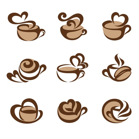 Coffee. logo template set. Elements for design. Icons set. Illustration