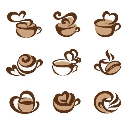 Máy pha cà phê. Logo mẫu thiết. Các yếu tố thiết kế. Các biểu tượng được thiết lập.