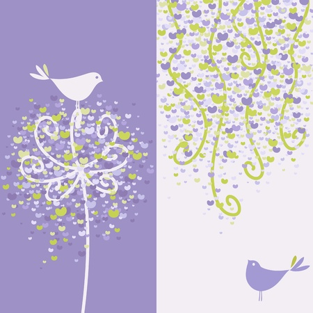 Two pretty love birds and flowery branches.  Vector