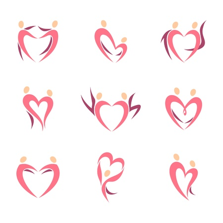 Abstract human silhouette of couple in the shape of heart. Vector logo template set.  Illustration