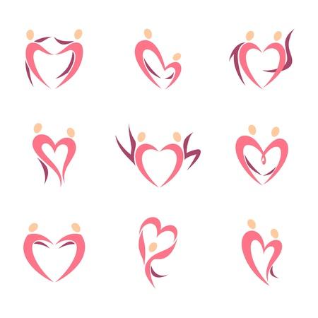 Tóm tắt hình bóng con người của cặp vợ chồng trong hình dạng của tim. Vector biểu tượng mẫu thiết lập.