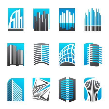 real estate concept: Set of abstract real estate icons illustrating modern architecture. Vector logo template set.  Illustration