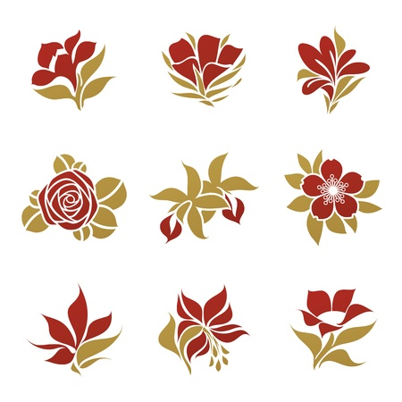 Flowers. Vector logo template set. Elements for design. Vector