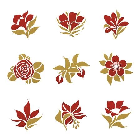 Flowers. Vector logo template set. Elements for design. Stock Vector - 12108903