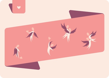 Winged human figures. Vector logo template set. Elements for design. Vector
