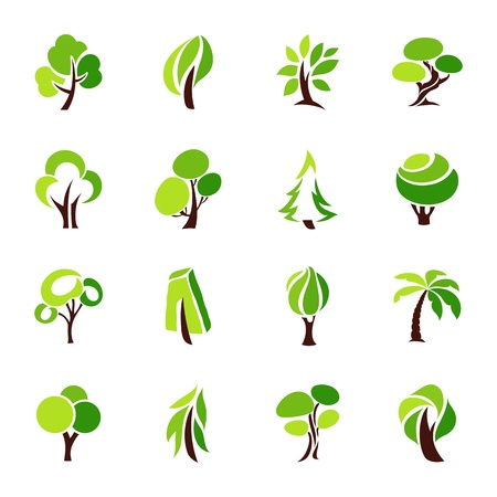 Trees. Vector logo template set. Ilustrace