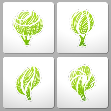 Ecologically themed design with tree. Vector illustration. Vector