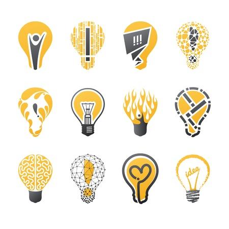 bombilla: Idea de la bombilla. Vector logo plantilla de conjunto. Colección de elementos de diseño. Iconos conjunto.