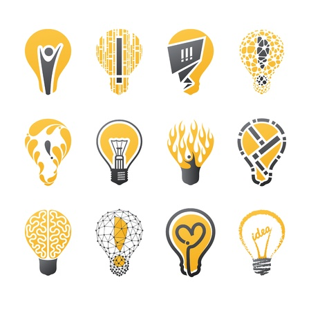 Light bulb idea. Vector logo template set. Collection of design elements. Icons set.